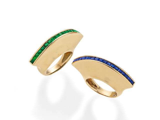 A companion pair of emerald, sapphire and 18k gold rings, Paloma Picasso for Tiffany & Co.,