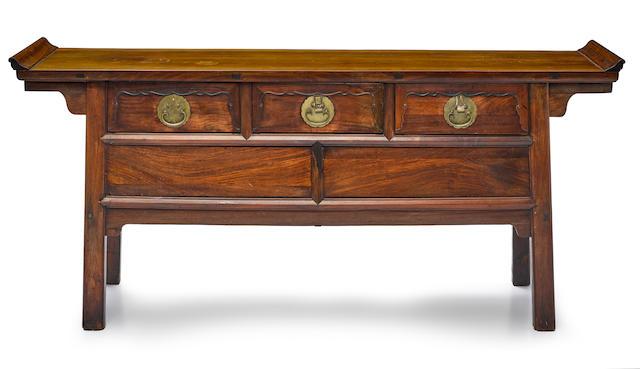 A huanghuali three-drawer coffer Republic Period