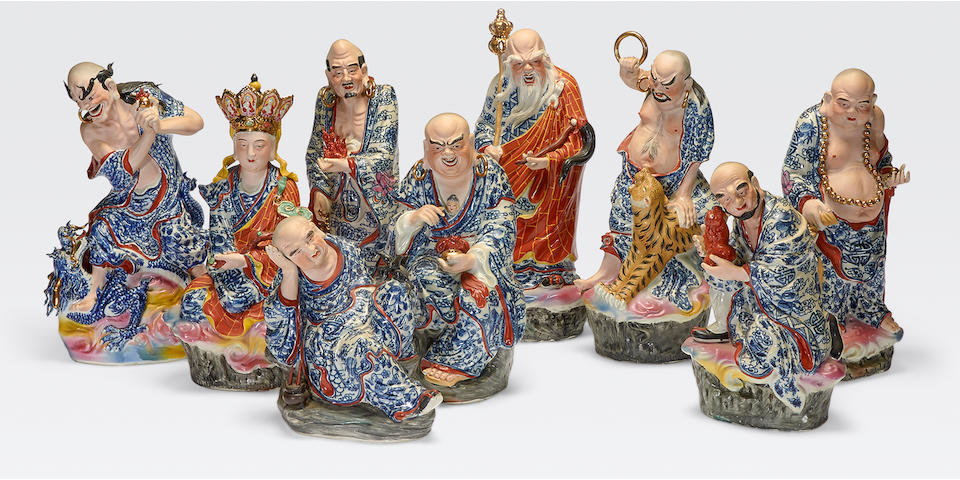 A polychrome enamel set of the 18 luohan