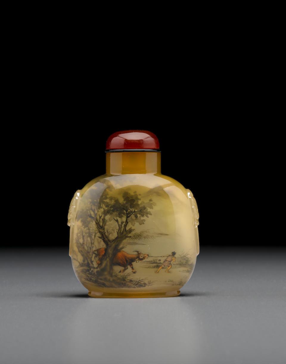 An inside-painted chalcedony snuff bottle Wang Xisan (b. 1938), 1981, the bottle: 1800-1860