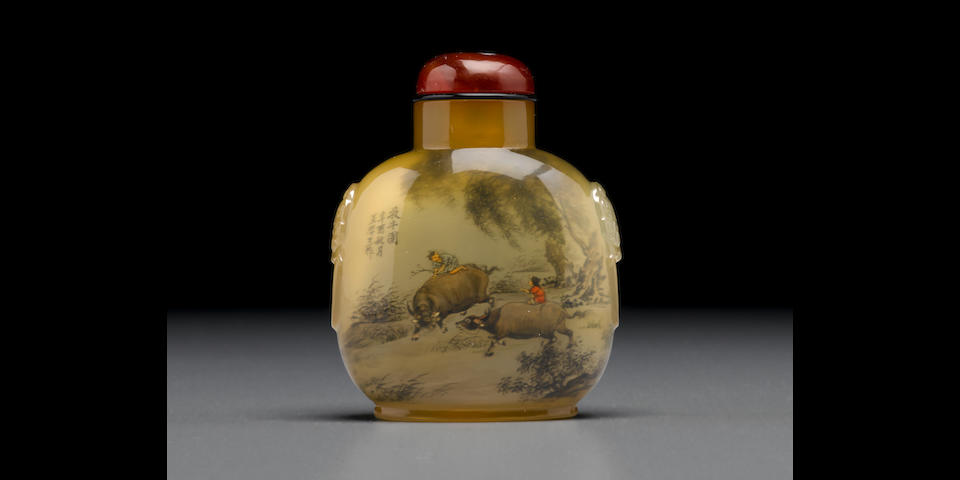 An inside-painted chalcedony snuff bottle Wang Xisan (b. 1938), 1981, the bottle: 1800-1860