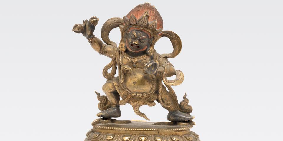 A small cast bronze figure of Vajrapani    18th century