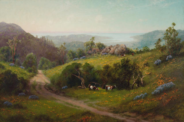 Charles Dormon Robinson (1847-1933) Cattle grazing among wildflowers with a view of the bay 32 1/4 x 48 1/8in overall: 39 1/2 x 55 1/2in (Painted in 1919)