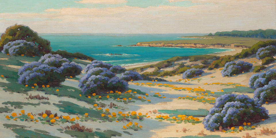 John Marshall Gamble (1863-1957) Bush Lupine and Poppies, Sand Dunes, Monterey 18 x 24in overall: 24 1/2 x 30 1/2in