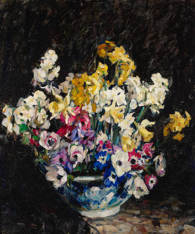 E. Charlton Fortune (1885-1969) Still life with narcissus and anemone 30 x 25in overall: 38 1/2 x 33 1/2in