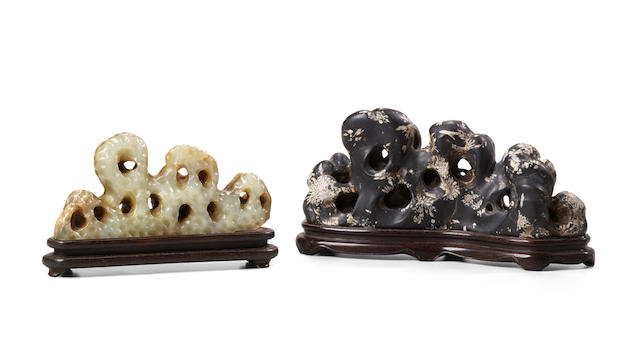 TWO ROCK-FORM BRUSH RESTS Ming/early Qing dynasty