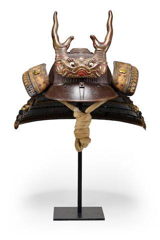 Munemitsu (active 17th/18th century) A very rare 104 plate suji-kabutoEdo period (1615-1868), 17th/18th century