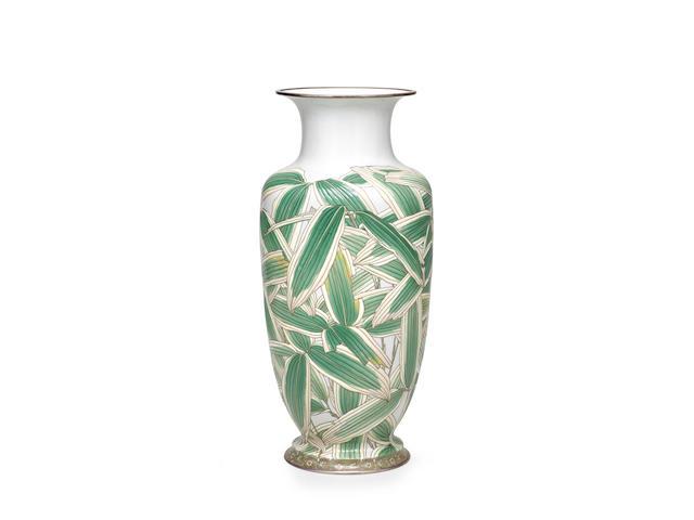 Hattori Tadasaburo (died 1939) A fine and large moriage cloisonné-enamel vaseTaisho era (1912-1926), circa 1912-1920