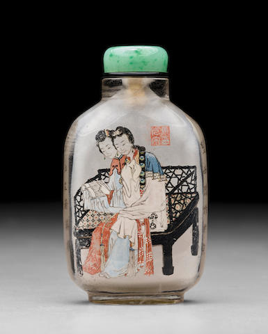 AN INSIDE-PAINTED CRYSTAL 'QIAO SISTERS' SNUFF BOTTLE     Ma Shaoxuan