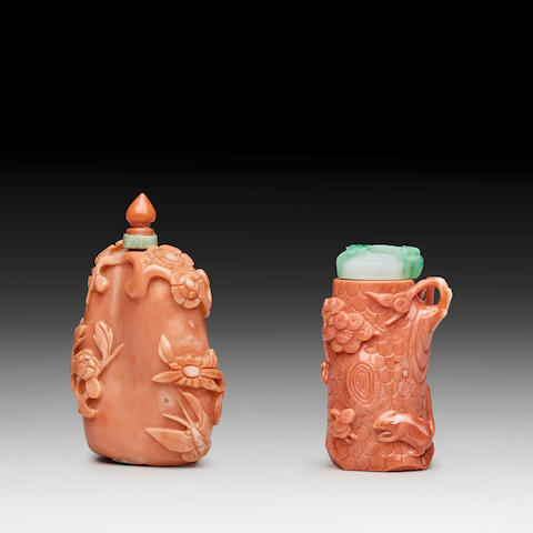 TWO CORAL SNUFF BOTTLES 19th century
