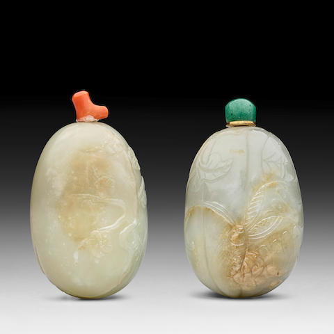 TWO CELADON JADE 'PEBBLE' SNUFF BOTTLES 19th century