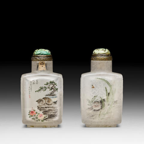 AN INSIDE-PAINTED CRYSTAL SNUFF BOTTLE Wang Xisan, 1972