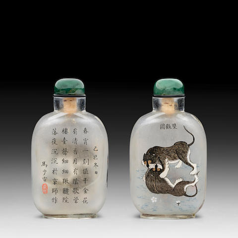AN INSIDE-PAINTED GLASS 'BADGERS' SNUFF BOTTLE Family of Ma Shaoxuan