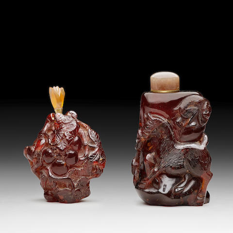 TWO AMBER SNUFF BOTTLES 19th century
