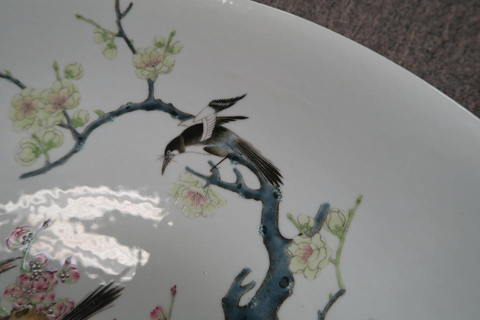 A large famille rose enameled flower and magpie charger Yongzheng mark, Republic period