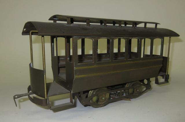 A reproduction of a Lionel Standard gauge electric trolley car,