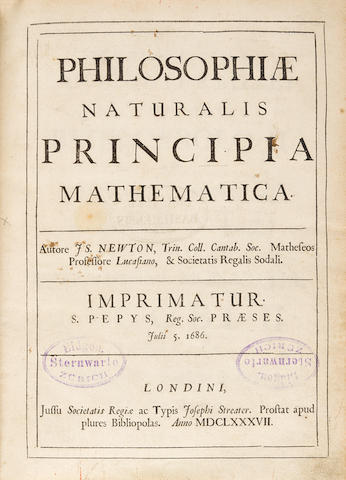 NEWTON, Isaac Sir. 1642-1727, knighted 1705.  Philosophiae naturalis principia mathematica.  [Edited by Edmond Halley. 1656-1743.] London: Joseph Streater for the Royal Society [at the expense of Edmond Halley], to be sold by various booksellers, 1687.
