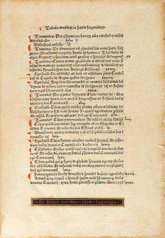 CARLERIUS, Aegidius. 1390-1472.  Sporta fragmentorum. Sportula fragmentorum.  Brussel: Fratres vitae communis, 1478-79.