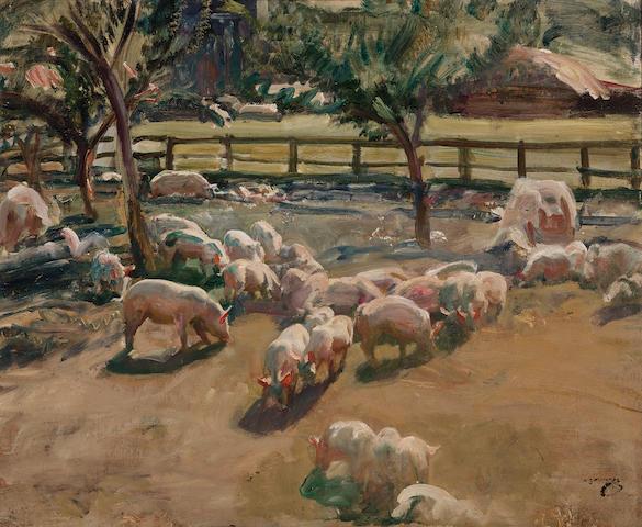 Sir Alfred James Munnings, PRA, RWS (British, 1878-1959) Pigs in a farm yard 20 1/4 x 24 1/4in (51.5 x 61.5cm)