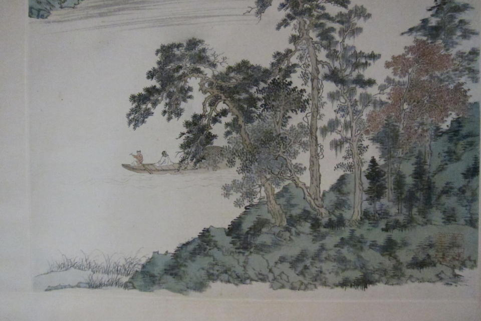 Pu Ru (1896-1963) Boating in Verdant Landscape