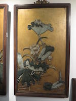 A pair of jade inlay lacquer panels