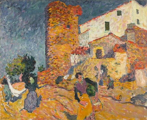 Louis Valtat (1869-1952) Catalogne, les tâches quotidiennes au mas 31 1/2 x 39 1/4 in (81 x 99.7 cm) (Painted in 1895)