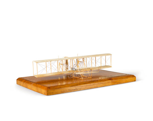WRIGHT FLYER MODEL MADE FROM THE ORIGINAL FABRIC OF THE FIRST AIRPLANE