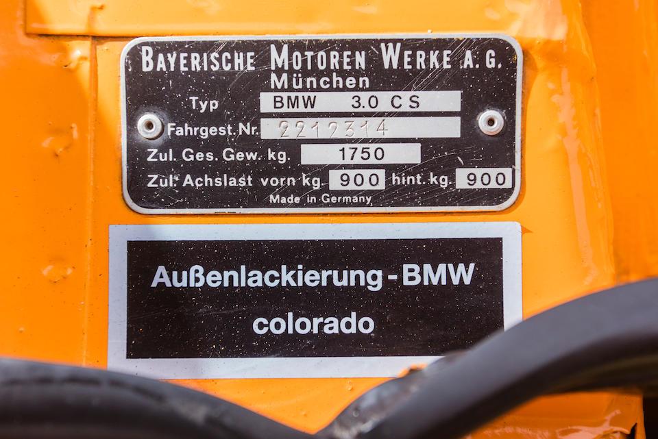 <B>1972 BMW 3.0 CSL </B><br /> Chassis no. 2212314<br /> Engine no. 2212314