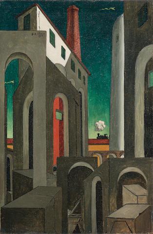 Giorgio de Chirico (1888-1978) Apparizione della ciminiera 32 x 21 3/8 in (81.3 x 54.3 cm) (Painted circa 1939-1944)