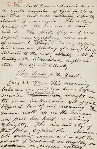 WHITMAN, WALT. 1819-1892.  Autograph Manuscript, 1 p, bound in: The Complete Writings of Walt Whitman Manuscript Edition. New York and London: G.P. Putnam's Sons for The Knickerbocker Press, 1902.