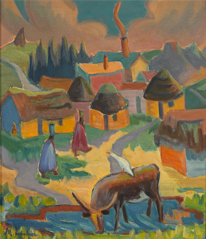 Maggie (Maria Magdalena) Laubser (South African, 1886-1973) Landscape with Houses, Figures and a Cow