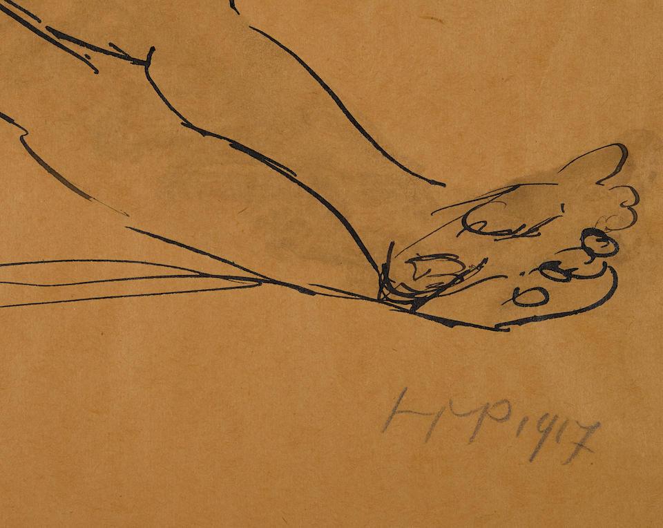 MAX PECHSTEIN (1881-1955) Liegender Akt 12 5/8 x 17 5/8 in (32.2 x 44.8 cm) (Drawn in 1917)