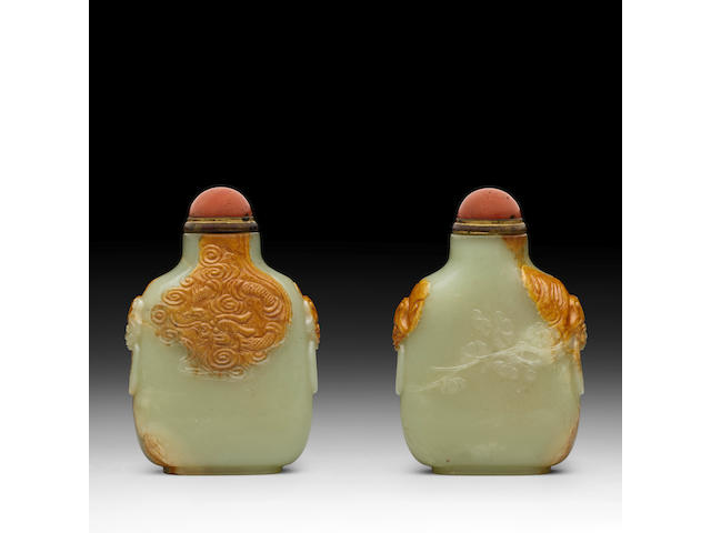 A YELLOW AND RUSSET JADE 'DRAGON' SNUFF BOTTLE  Master of the Rocks School, 1780-1850
