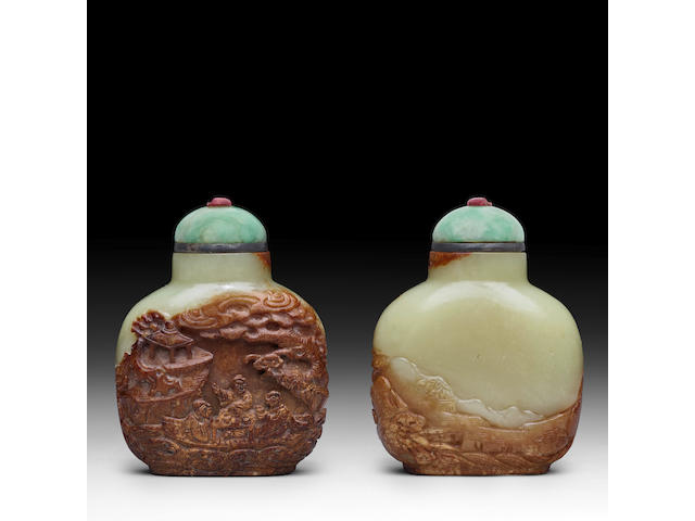 A YELLOW AND RUSSET JADE 'RED CLIFF' SNUFF BOTTLE Master of the Rocks School, 1780-1850