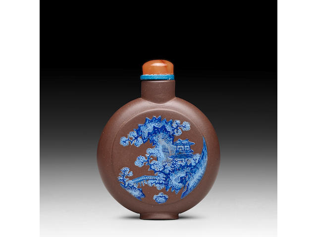 AN ENAMELED YIXING SNUFF BOTTLE 1840-1880