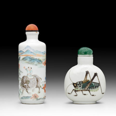 TWO ENAMELED PORCELAIN SNUFF BOTTLES Daoguang marks, 19th century