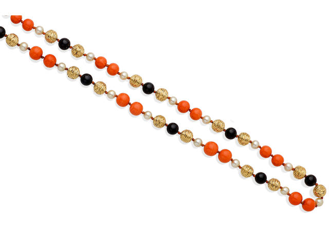 A coral, cultured pearl, black onyx, and 18k gold necklace, Piaget, French