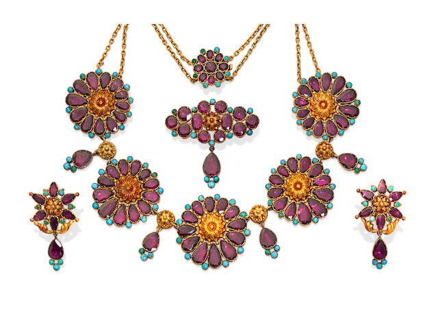 An antique suite of garnet, turquoise and gold jewelry,