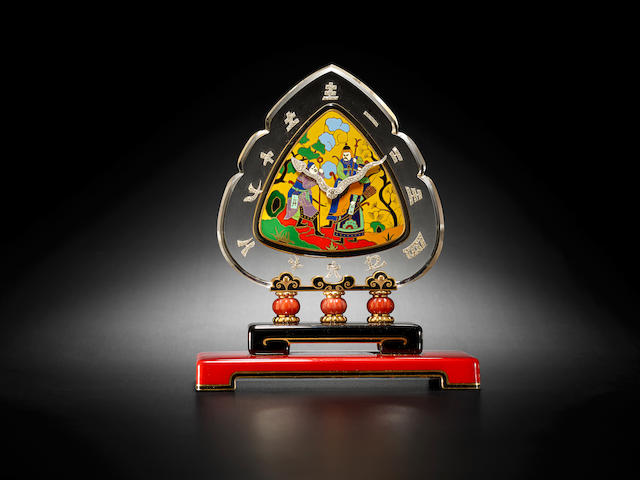 Black, Starr & Frost. A very fine Art Deco Chinoiserie 18K enameled gold, rock crystal, coral and diamond desk clock1930's