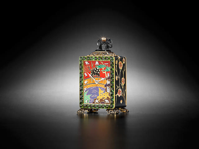 Black, Starr & Frost. A very fine Art Deco Chinoiserie 18K enameled gold, cabochon tourmaline, and carved hardstone boudoir timepiece1930's