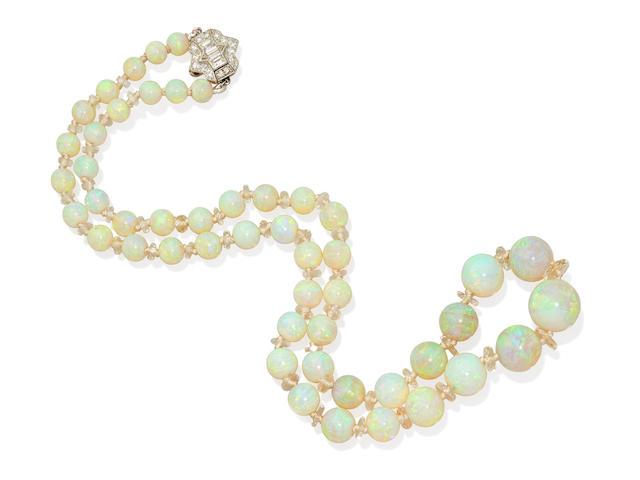 An opal, rock crystal quartz, diamond and platinum necklace