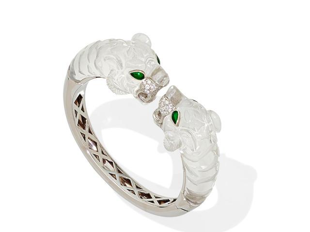 A rock crystal quartz, diamond, enamel and 18k white gold bangle bracelet, Italian
