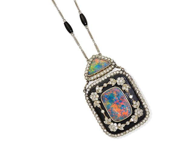 A boulder opal, black onyx, diamond, enamel and 14k white gold brooch-pendant/necklace