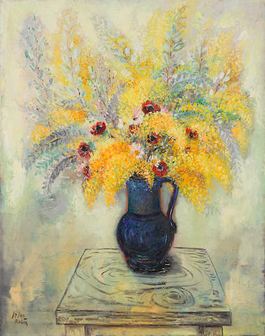 REUVEN RUBIN (1893-1974) Mimosas in Persian vase 36 1/4 x 28 7/8 in (92 x 72.3 cm) (Painted in 1941)