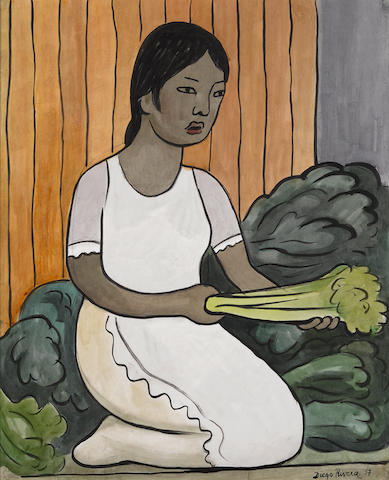 Diego Rivera (Mexican, 1886-1957)  Vegetable seller  signed and dated 'Diego Rivera 37' (lower right)  23 x 18 ¾ in. <br /> Exhibited: Mary-Anne Martin, New York, Diego Rivera, watercolors and drawings, 13 October -13 November 1999, no. 31. <br /> Provenance: William Randolph Hearst <br /> Hammer Galleries, New York (where acquired by Jose Ferrer) <br /> Literature: L. Cortés Gutiérrez (ed.), Diego Rivera: catálogo general de obra de caballete, Mexico City, 1989, p. 184, no. 1401.