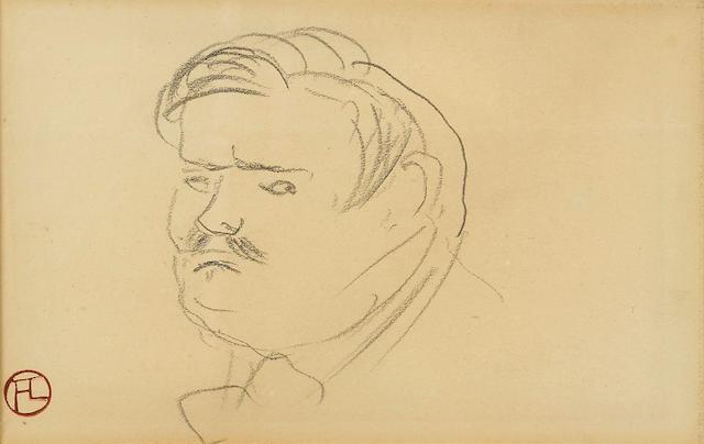 Henri de Toulouse-Lautrec (1864-1901) Monsieur Sesti (recto); Deux têtes (verso) 4 3/8 x 6 7/8 in x (11.3 x 17.6 cm) (sight) (Drawn in 1896)