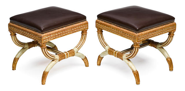 A pair of Neoclassical style parcel gilt and paint decorated stools post 1950