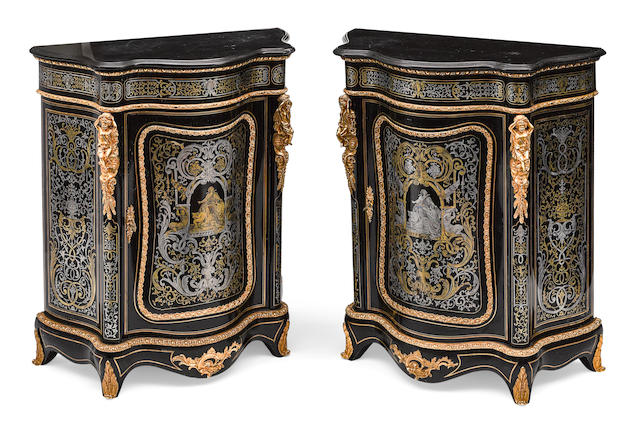 A pair of Napoleon III gilt bronze mounted cut brass and pewter inlaid ebonized meubles d'appui third quarter 19th century