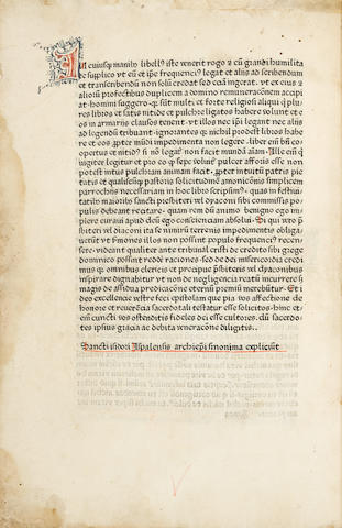 ISIDORUS HISPALENSIS. d.636. Synonyma de homine et ratione, seu Soliloquia. [Nuremberg: Johann Sensenschmidt, c.1470/72.]