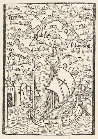 COLUMBUS, Christopher. 1451-1506.  De Insulis nuper in mari Indico repertis. Preceded by Carolus Verardus (1440-1500). Historia Baetica.  Basel: Johann Bergmann de Olpe, 21 April 1494.